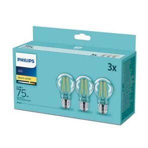 PHILIPS; СЕТ LED КРУШКИ 3 БР. 8.5W/E27/2700K